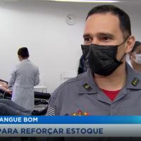 O Comandante do Corpo de Bombeirose, Tenente- coronel Camargo Júnior, comandante do 11º GB, falando à TV Record Vale sobre a campanha bombeiro sangue bom